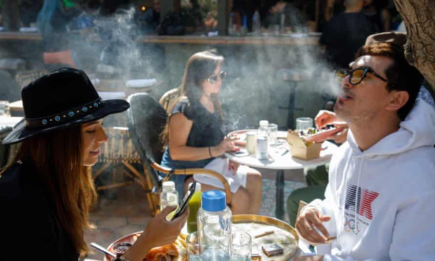 Diners smoke pot at Lowell cafe, in West Hollywood, California.