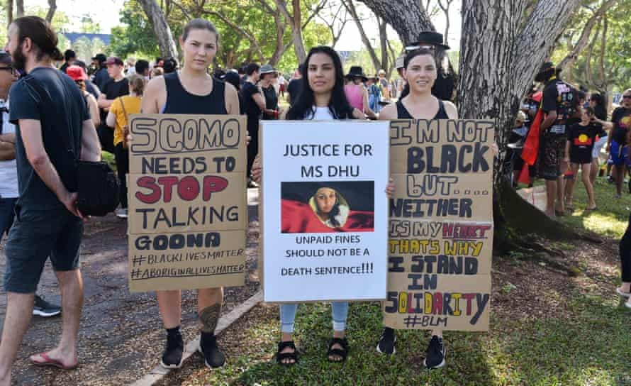 Amy Dee, Keara Mack and Rebecca Mack at the Black Lives Matter rally in Civic Park in Darwin on Saturday