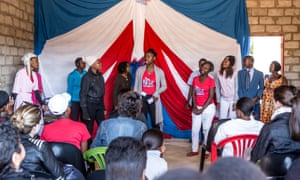 Members of regional Rise Clubs perform in scenes to raise awareness of the dangers of 'blessers' in their area.