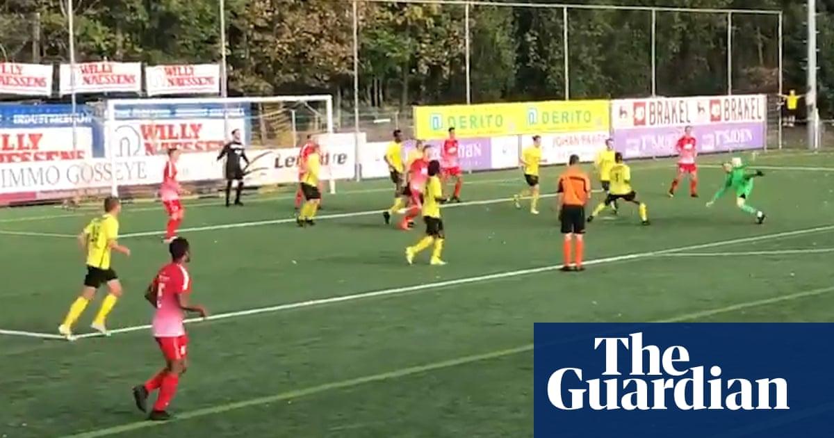 Goalkeeper scores spectacular injury-time equaliser in Belgium – video