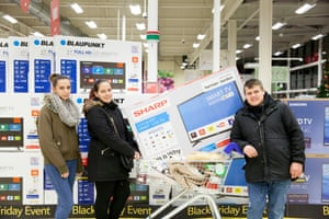 David, Anna and Flora from Norbury, who bought a flatscreen TV at Tescos in Streatham, UK