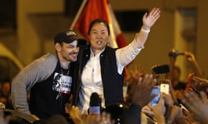 Keiko Fujimori and her husband, Mark Vitto, after her release from jail in Lima
