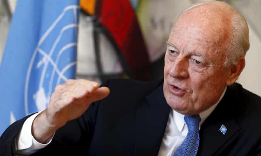 Staffan de Mistura, UN mediator for Syria, at the UN in Geneva.