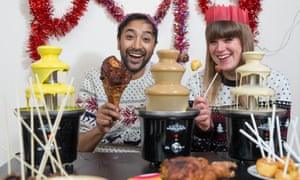 Rhik Samadder and Felicity Cloake with their hacked chocolate fountains and other party treats