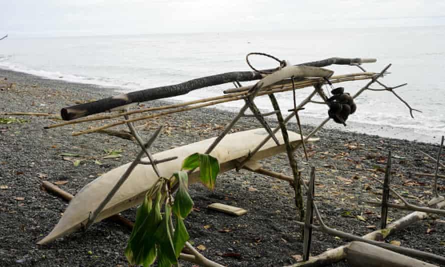 A shark-caller's canoe and tools