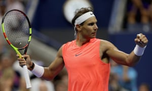 Rafa Nadal marches on after a 5-7, 7-5, 7-6, 7-6 victory.