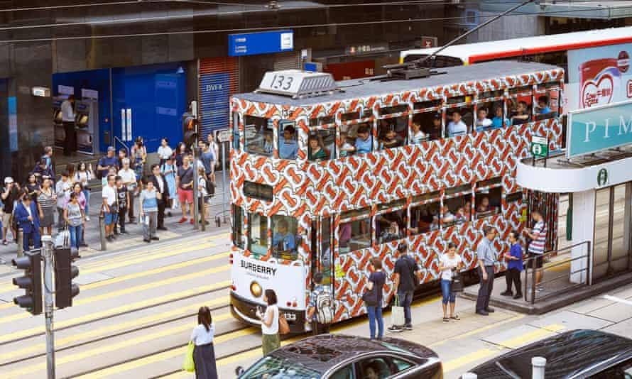 A tram in Hong Kong bearing the new Thomas Burberry monogram