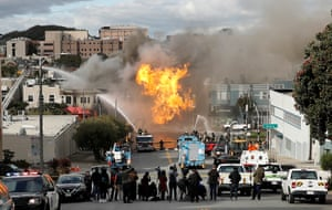 San Francisco, USFirefighters battle a fire after an explosion caused by a ruptured gas line.