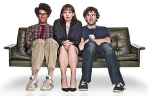 Moss (Richard Ayoade), Jen (Katherine Parkinson) and Roy (Chris O'Dowd) in The IT Crowd.