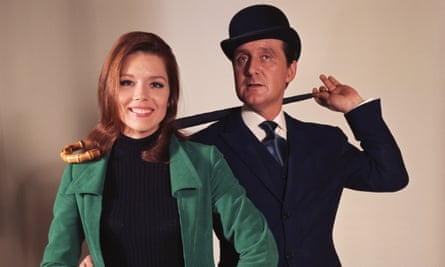 Diana Rigg and Patrick Macnee star as Emma Peel and John Steed in The Avengers, 1966