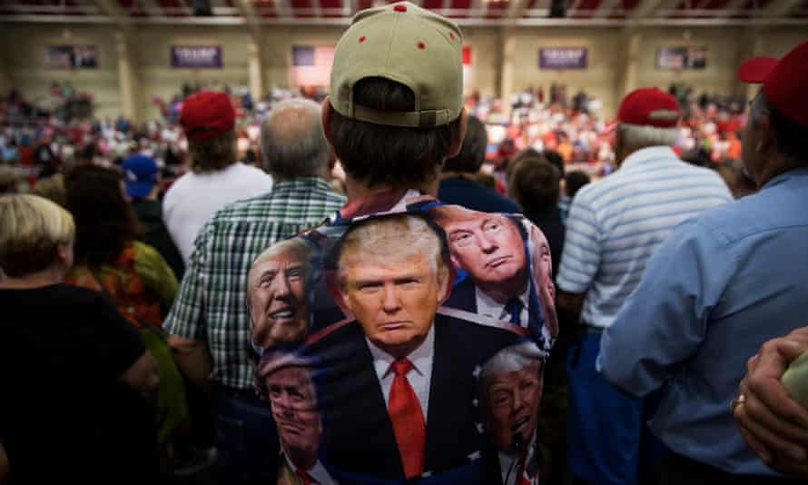 A supporter at a Donald Trump rally in North Carolina, 2016.