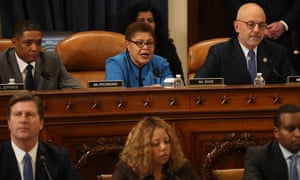 Karen Bass votes for the first of two articles of impeachment against Donald Trump, 13 December 2019.