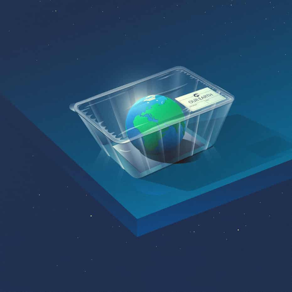 illustration: planet earth inside a plastic package