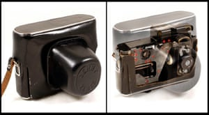 A clever 'Zenit' F-21 spy camera which shoots photos through the side of a camera case when it appears to be shut went for £4,100.