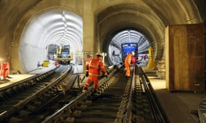 Crossrail construction train parked in tunnel at Fisher Street crossover