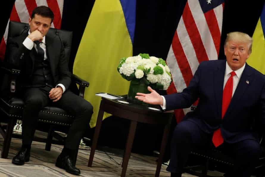 Volodymyr Zelenskiy listens as Donald Trump speaks, at the UN in September.