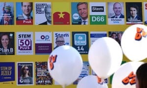 An electoral poster board in The Hague on 12 March 2017.