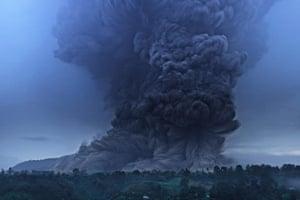 Mount Sinabung erupts in North Sumatra