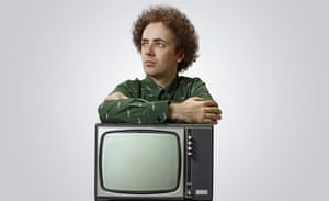 lincoln barrett aka high contrast posing with an old television set