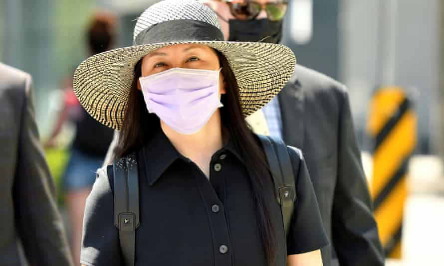 Huawei's chief financial officer, Meng Wanzhou, arrives at a court hearing in Vancouver, British Columbia, Canada, on Tuesday.