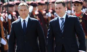 Nikola Gruevski (right) with the Hungarian prime minister, Viktor Orbán, in 2011