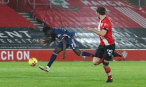 Bukayo Saka of Arsenal scores his team's second goal.