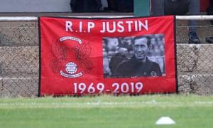 Leyton Orient display a banner remembering Justin Edinburgh at a friendly at Hornchurch.