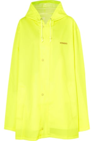 Hooded printed neon coated-shell raincoat, £580, Vetements at Net-a-porter