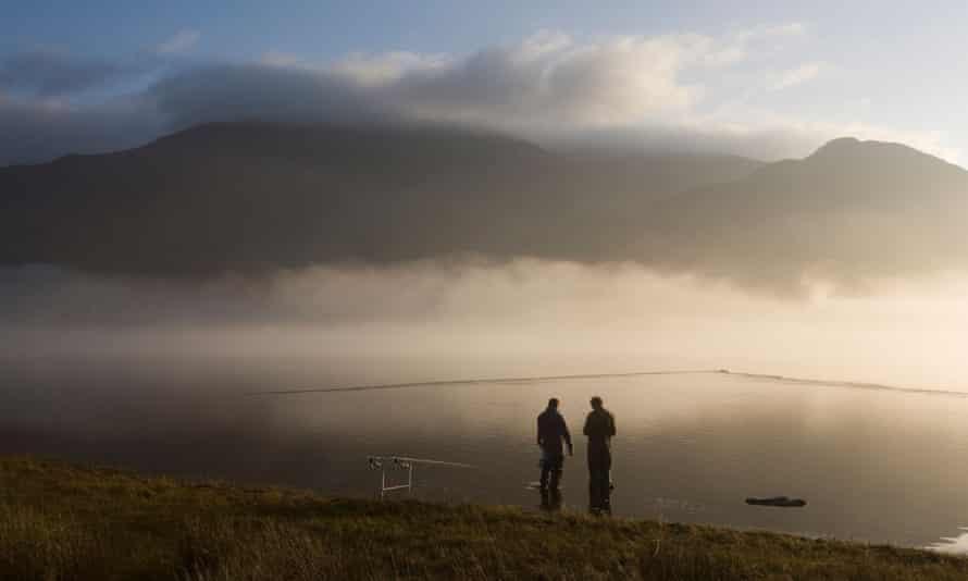 Fishermen at Bassenthwaite Lake, Cumbria, England.
