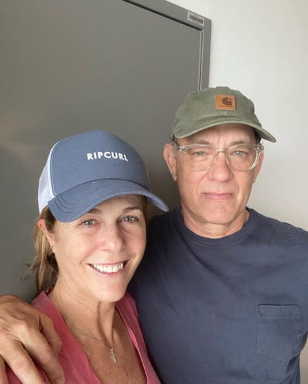 Hanks with Rita Wilson in April, while they were suffering from Covid-19.