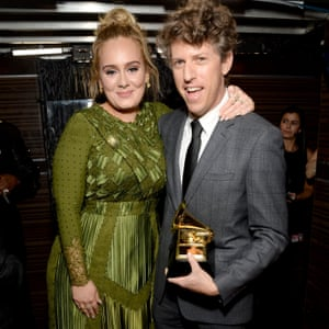 Adele Adkins and Greg Kurstin, winners of song of the year for Hello at the 59th Grammy Awards, 12 February 2017.