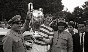 Billy McNeill with the European Cup in 1967 in Lisbon, after Celtic's victory over Internazionale in the final.