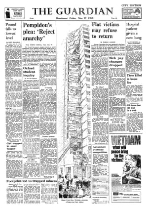 The Guardian, 17 May 1968. Flat victims may refuse to return - home secretary appoints team of specialists in preparation for the official inquiry to discover why the floors collapsed.