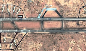 C-17 military planes on the ground in Sidi Barrani military base.