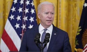 Joe Biden speaks in the East Room of the White House.