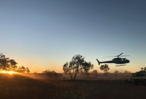 The Ngurrara rangers' chopper takes off