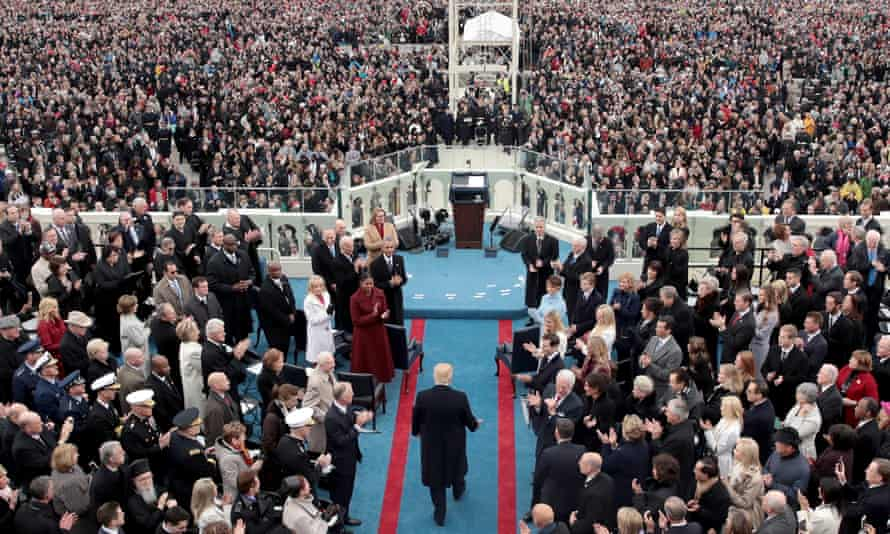 Donald Trump arrives on the West Front of the US Capitol for his swearing-in on 20 January 2017 in Washington DC.