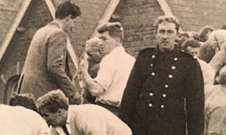 Mansel (in the white shirt, centre), a medical student who travelled home to Aberfan that day.