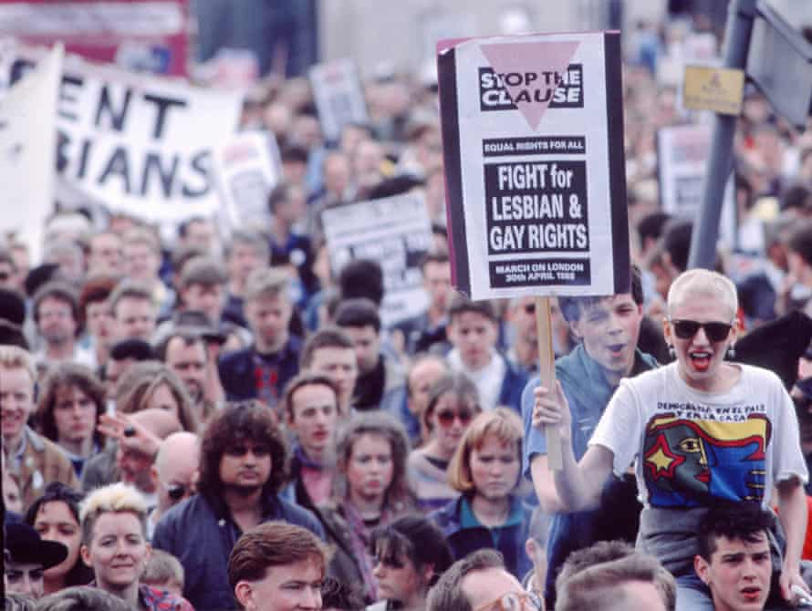 Demonstrators on a section 28 march in London in 1988.