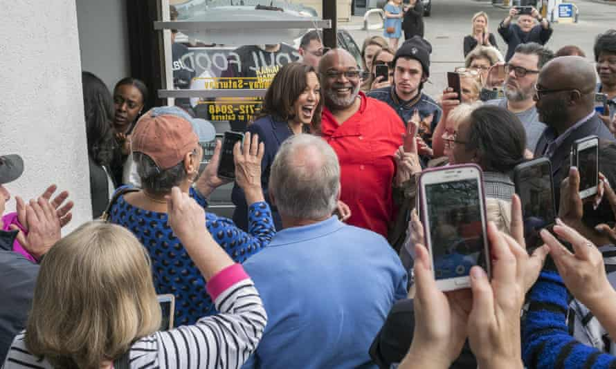 Kamala Harris, meets with supporters in Myrtle Beach, South Carolina, 8 March.