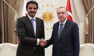 Turkey's President Recep Tayyip Erdogan and the Emir of Qatar Sheikh Tamim bin Hamad Al-Thani today