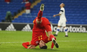 Kieffer Moore of Wales celebrates after scoring a goal.