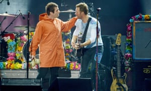 Liam Gallagher, left, with Coldplay frontman Chris Martin.