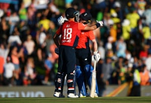 Morgan and Moeen celebrate victory.