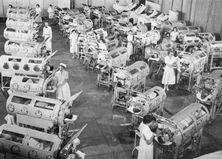 Iron lungs help polio patients breathe during an outbreak of the disease in the US in the 1950s.