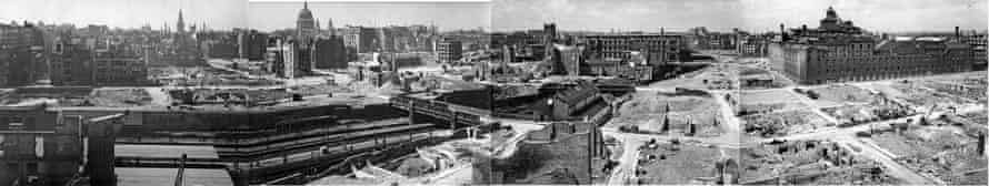 A composite panorama made from five photographs of London near St Paul's Cathedral during the blitz.