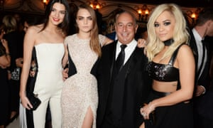 Philip Green in 2014 with, from left. Kendall Jenner, Cara Delevingne and Rita Ora.