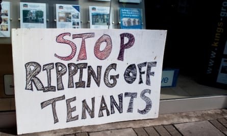 A protest at an estate agents in Haringey, north London, over high rents and excessive fees.