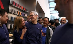 Apple's chief executive, Tim Cook, meeting customers for the new iPhone X at an Apple store in Palo Alto last year.