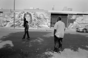 """Walking on 6th Street near Crocker Street—the heart of Skid Row—Waugh runs into a former client, a veteran Waugh called Mr. Brown. The two embraced. Waugh promised to give a call sometime soon, when he was sober. He was on meth when they encountered one another. """"I'ma call you when I'm sober, I don't want to talk to you like this. I love you with all my heart,"""" Brown told Waugh. Waugh was hopeful that the shame of being caught high could motivate Brown to get sober: """"This is why I do it. This is cool. This is the shit,"""" Waugh said."""